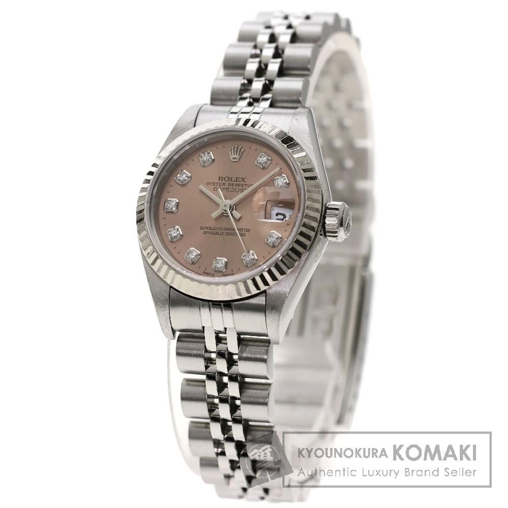 ROLEX 79174G デイトジャスト 10Pダイヤモンド 腕時計 OH済 ステンレス レディース 【中古】【ロレックス】