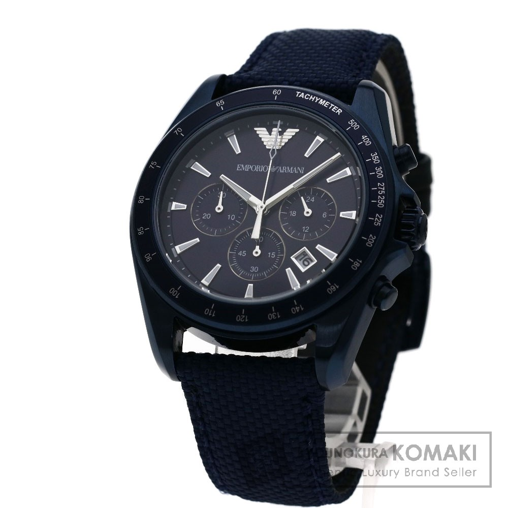 Emporio Armani AR-6132 腕時計 ステンレス/革xナイロン メンズ 【中古】【エンポリオ・アルマーニ】
