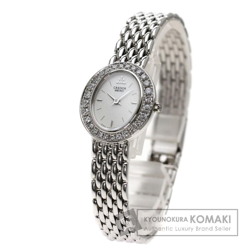 SEIKO 2J80-5010  クレドール 腕時計 K18ホワイトゴールド/ダイヤモンド レディース 【中古】【セイコー】