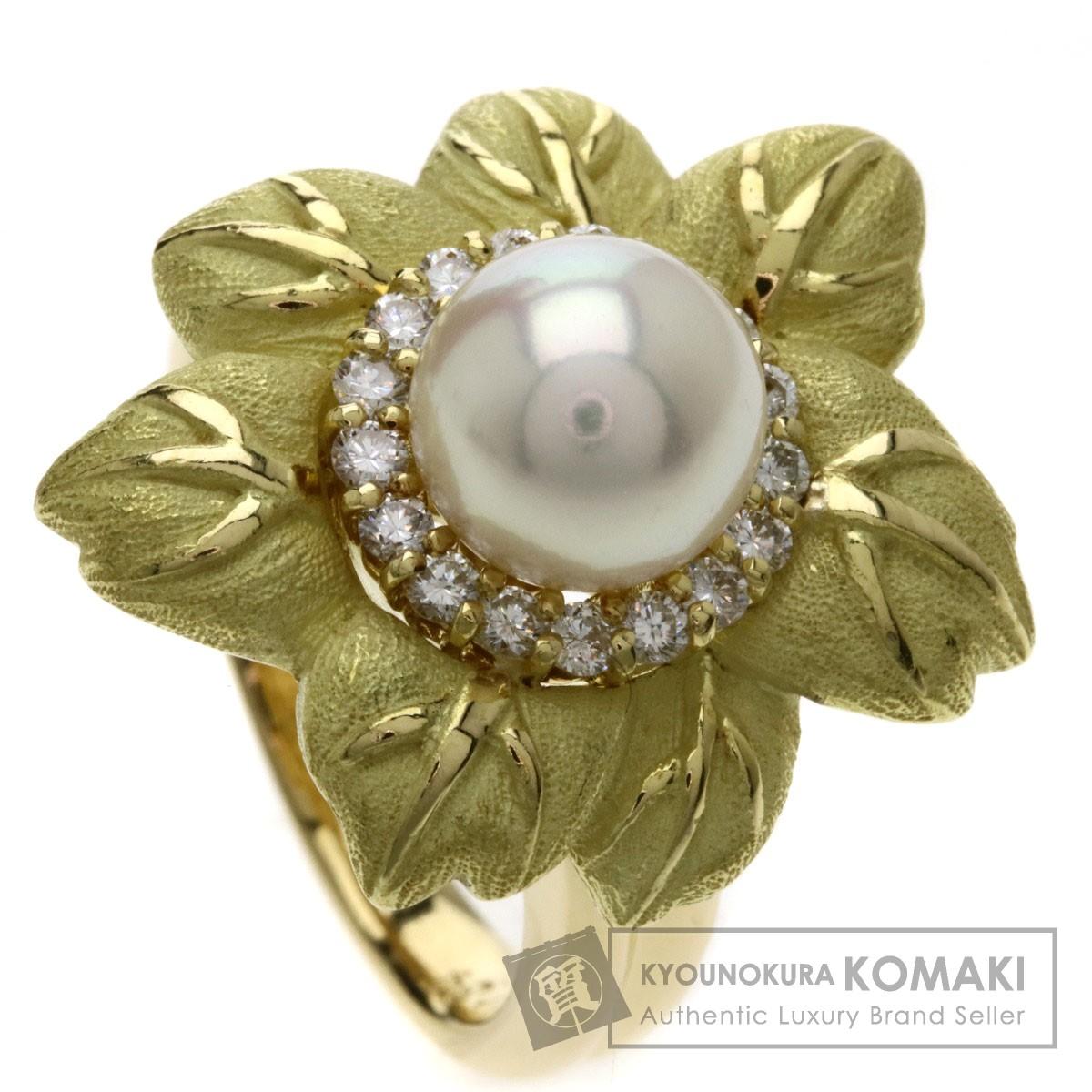 パール/真珠 ダイヤモンド リング・指輪 K18イエローゴールド 12.2g レディース 【中古】
