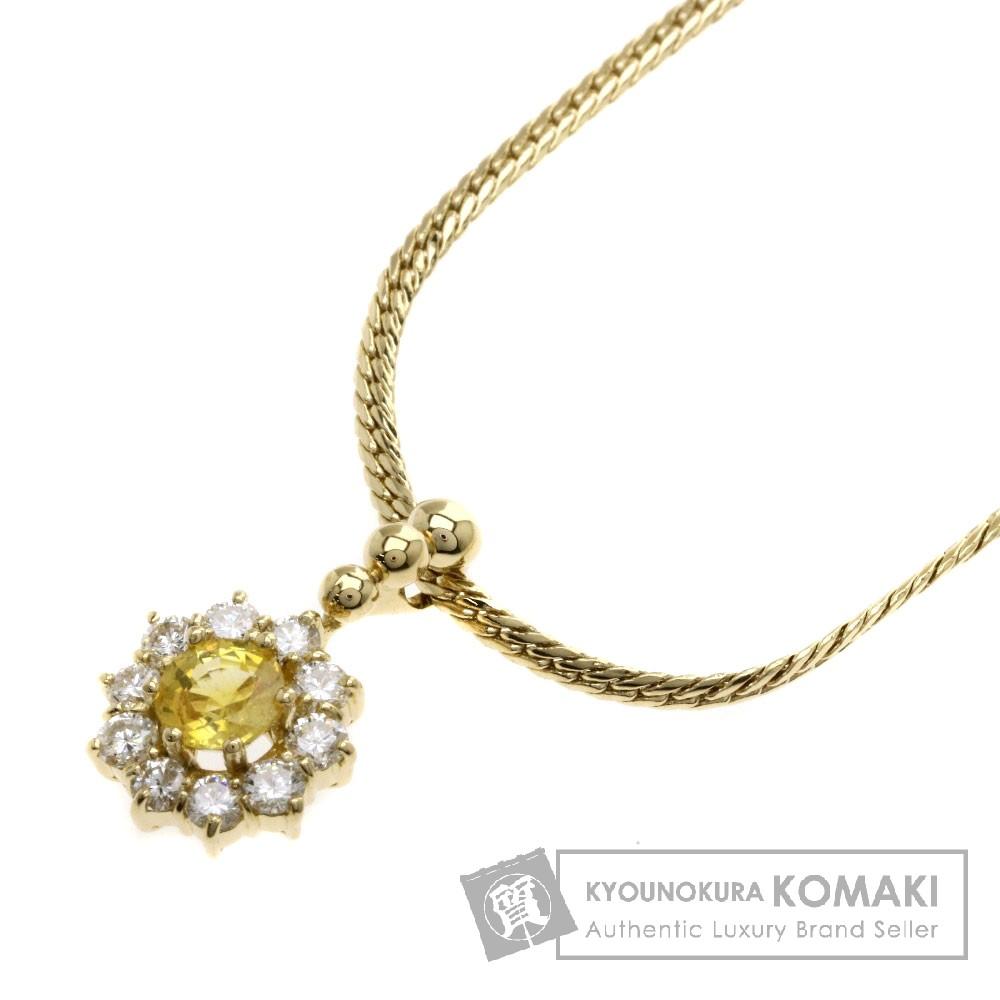 0.54ct サファイア/ダイヤモンド ネックレス K18イエローゴールド 8.9g レディース 【中古】