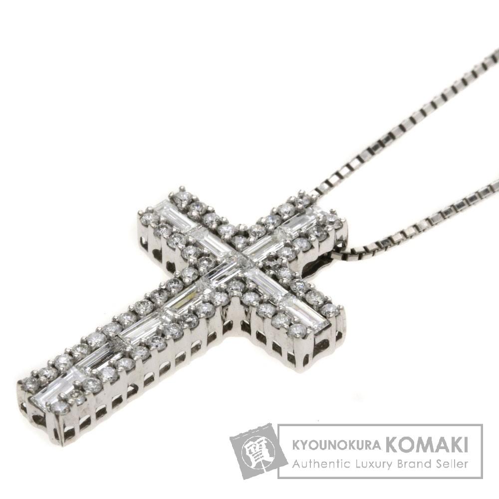 0.9ct クロスデザイン ダイヤモンド ネックレス K18ホワイトゴールド 5.7g レディース 【中古】