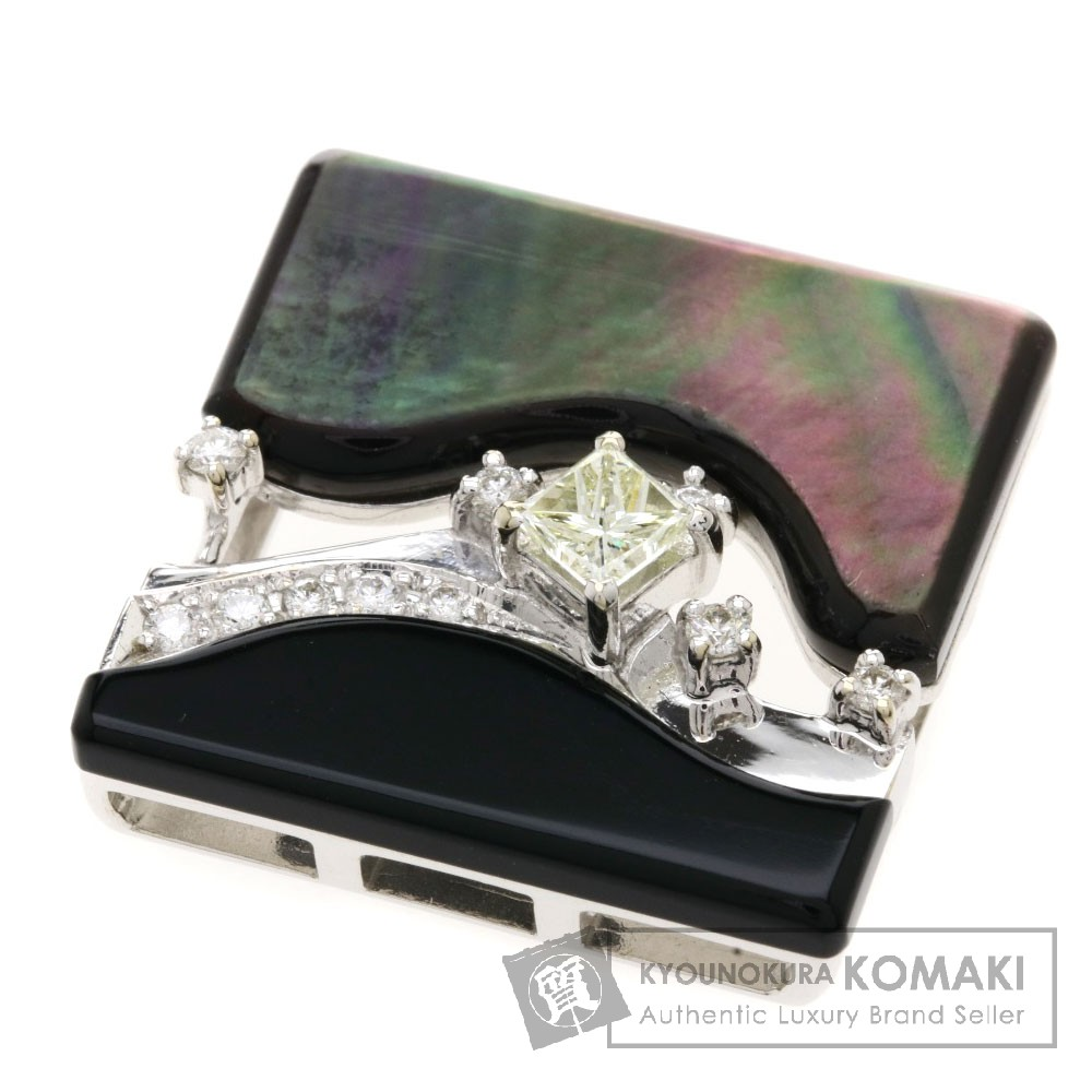 0.27ct ダイヤモンド シェル ペンダント K18ホワイトゴールド 6.4g レディース 【中古】