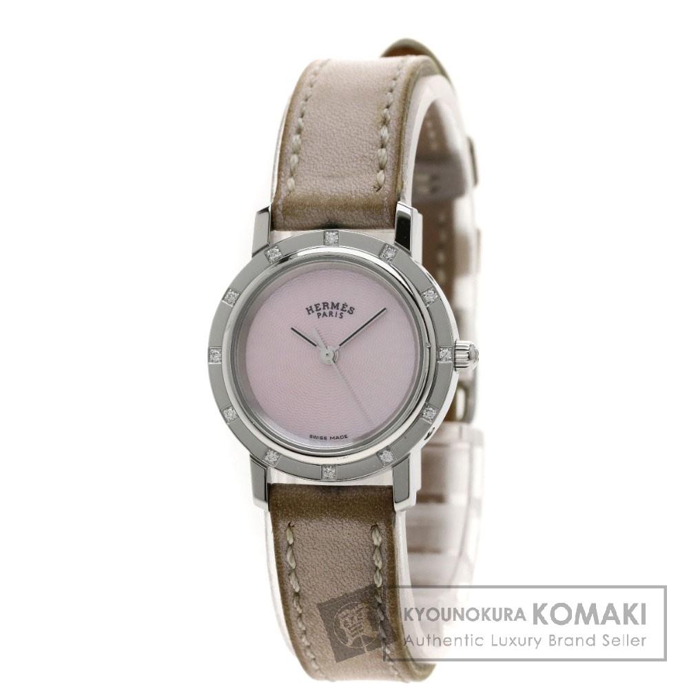 HERMES CL4.230 クリッパーナクレ 12Pダイヤモンド 腕時計 ステンレス/革 レディース 【中古】【エルメス】