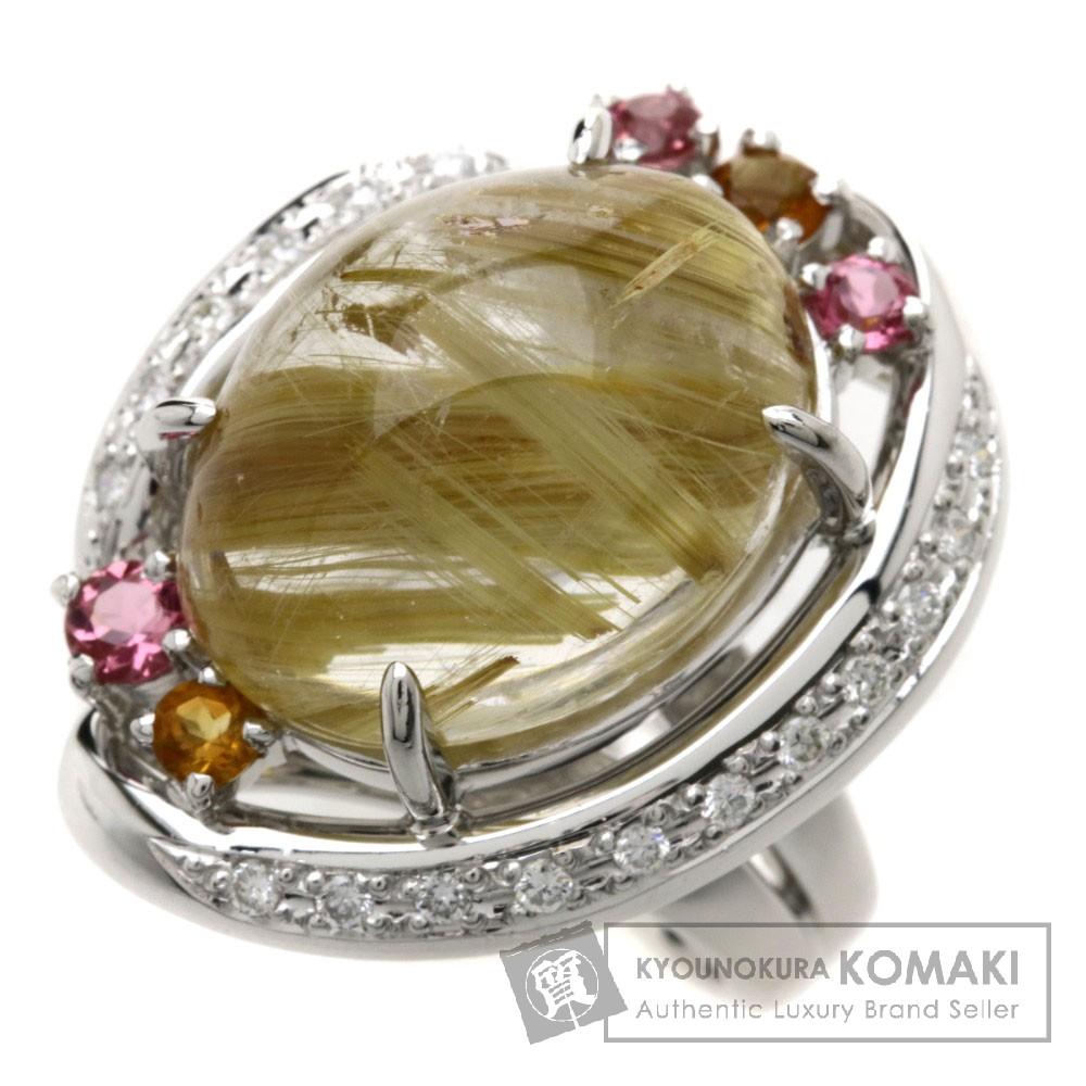LQ11.61ct ルチレイテッドクォーツ/ダイヤモンド リング・指輪 プラチナPT900 17.5g レディース 【中古】