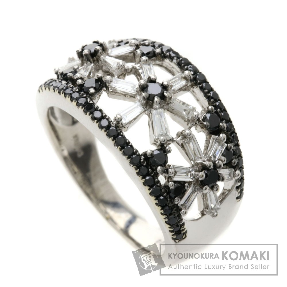 D0.89ct ダイヤモンド/ブラックダイヤモンド リング・指輪 K18ホワイトゴールド 6.3g レディース 【中古】