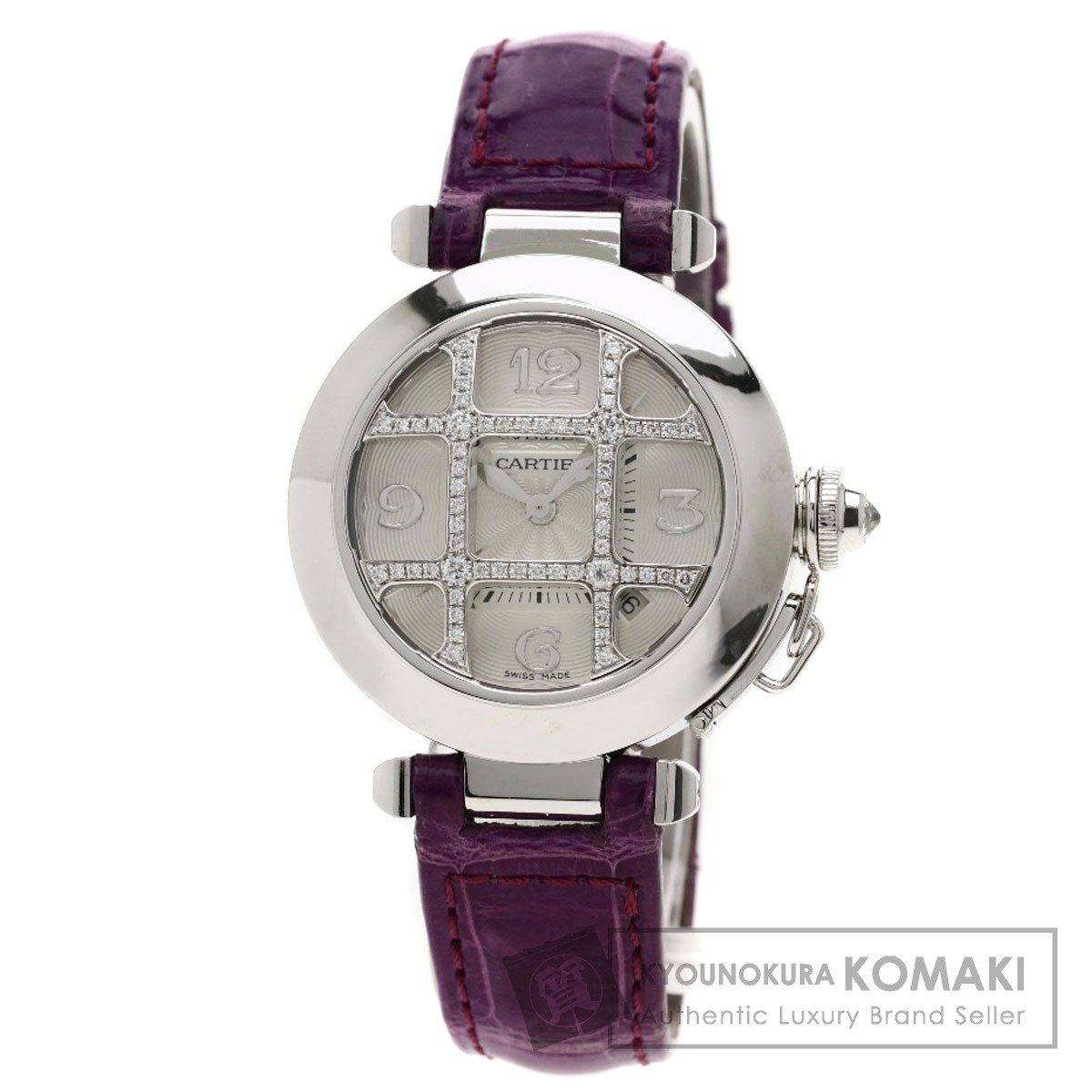 CARTIER パシャ 32mm 腕時計 K18ホワイトゴールド/革 レディース 【中古】【カルティエ】