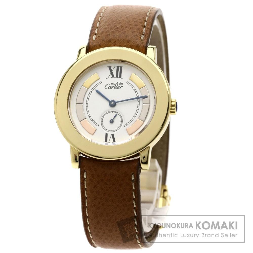 CARTIER マストロンドトリニティ 腕時計 OH済 シルバー925/革 レディース 【中古】【カルティエ】