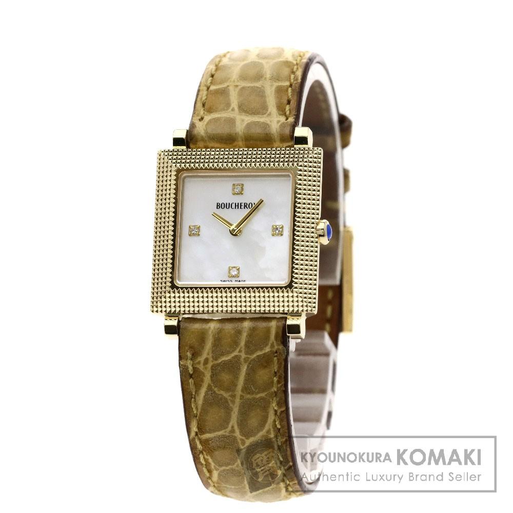 Boucheron スクエア 4Pダイヤモンド 腕時計 K18イエローゴールド/革 レディース 【中古】【ブシュロン】