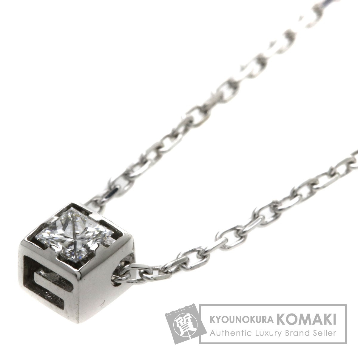 GUCCI Gキューブ ダイヤモンド ネックレス K18WG レディース 【中古】【グッチ】