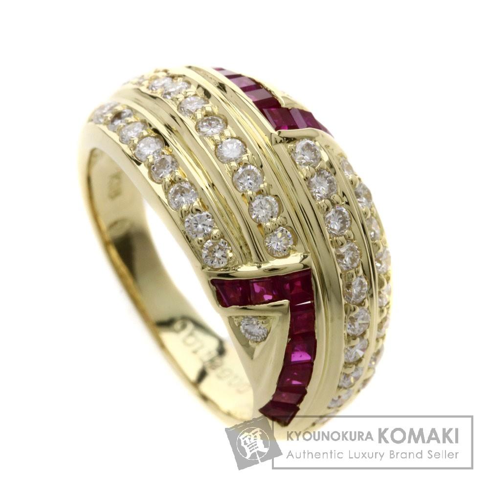 1ct ルビー/ダイヤモンド リング・指輪 K18イエローゴールド 7.6g レディース 【中古】