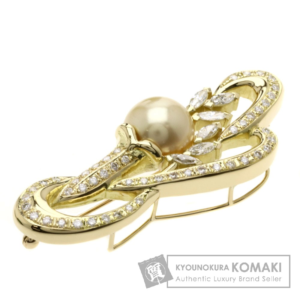 1.56ct パール/真珠/ダイヤモンド ブローチ K18YG 17.8g レディース 【中古】