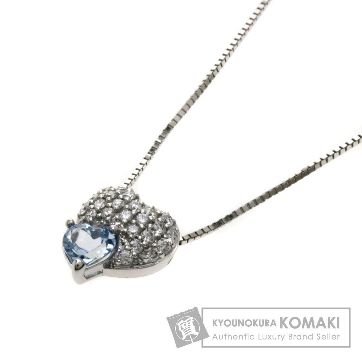 0.38ct アクアマリン/ダイヤモンド/ハートモチーフ ネックレス K18WG 3.9g レディース 【中古】