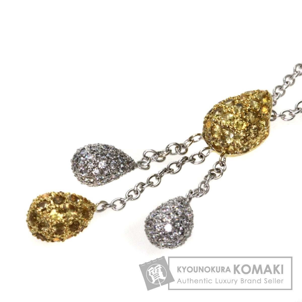 Queen イエローサファイア/ダイヤモンド ネックレス K18WG/K18YG レディース 【中古】【クイーン】