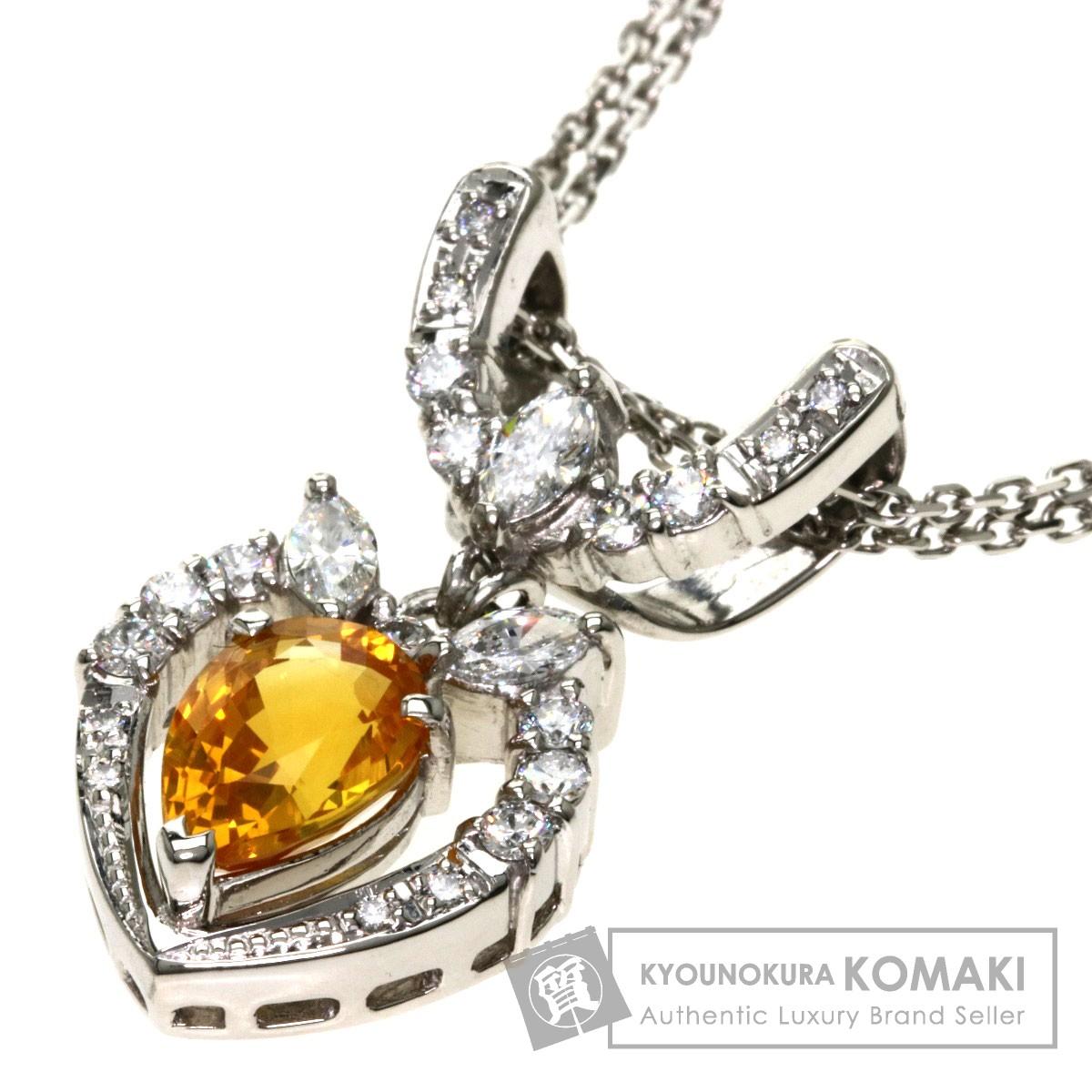 3.011ct ゴールデンサファイア/ダイヤモンド ネックレス プラチナPT900/PT850 16.1g レディース 【中古】