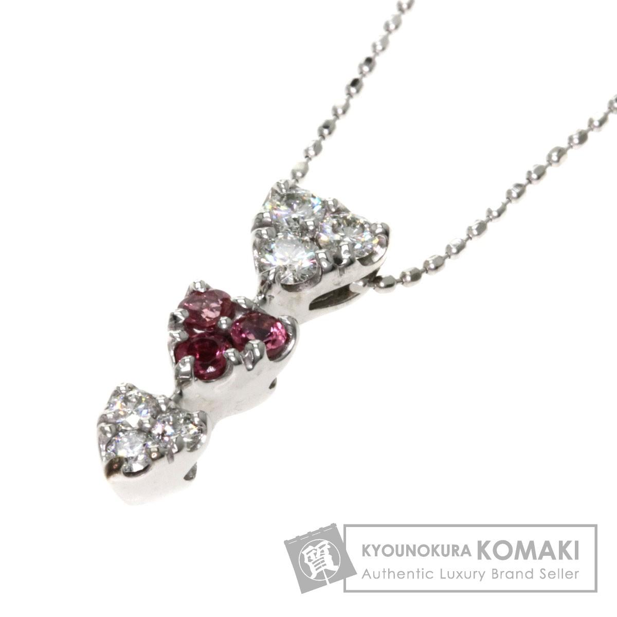 T トルマリン/ダイヤモンド/ハート ネックレス K10WG 2.9g レディース 【中古】