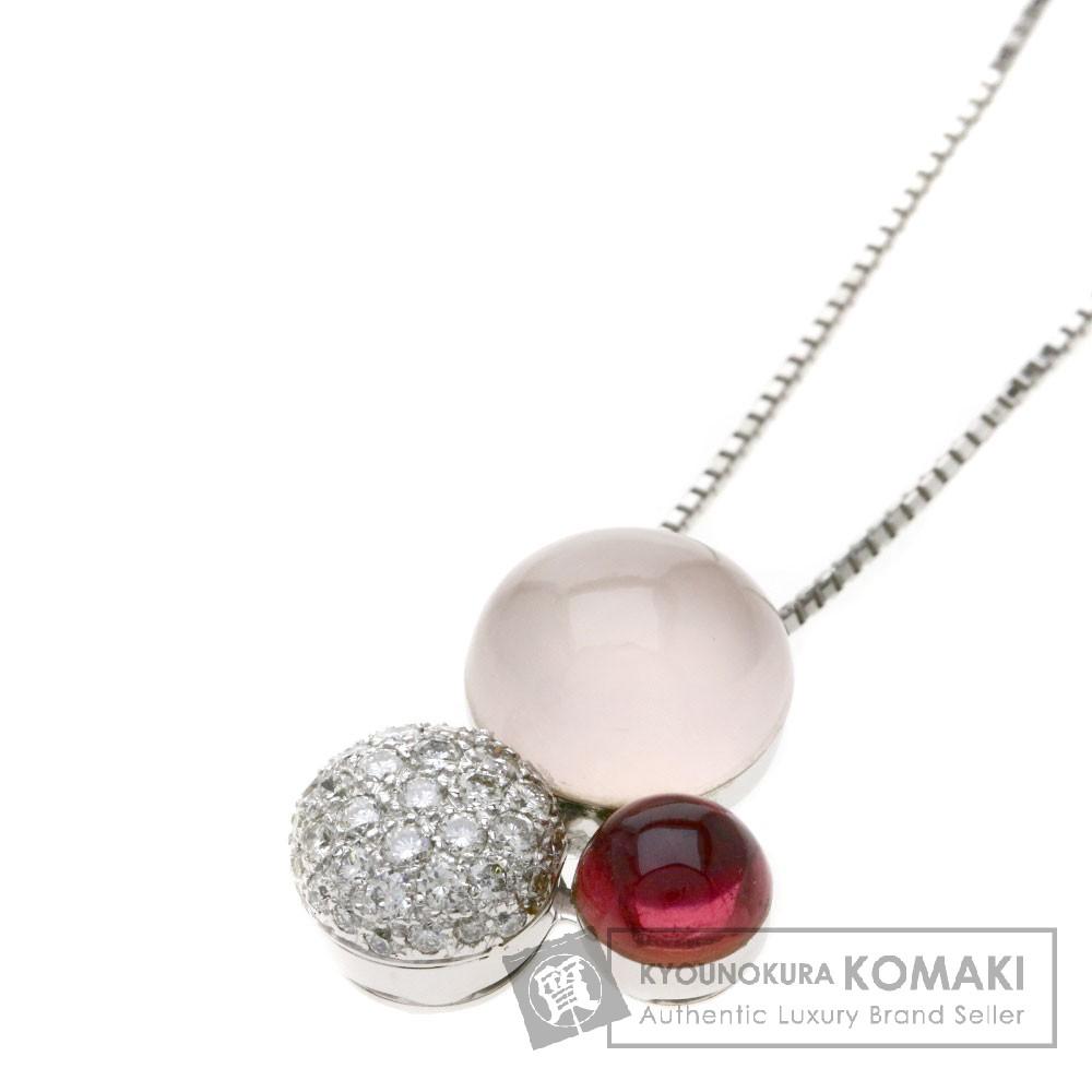 クオーツ ダイヤモンド ネックレス K18ホワイトゴールド 8.3g レディース 【中古】