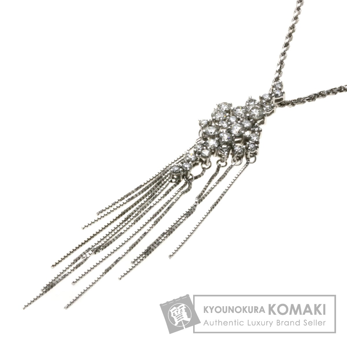 1ct ダイヤモンド ネックレス K18WG 7.7g レディース 【中古】