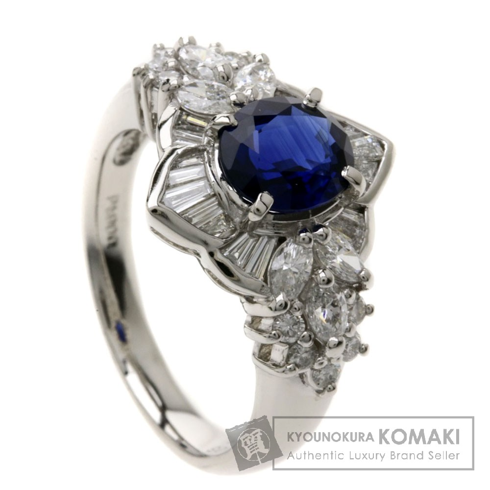1.485ct ブルーサファイア/ダイヤモンド リング・指輪 Pt900 8.6g レディース 【中古】