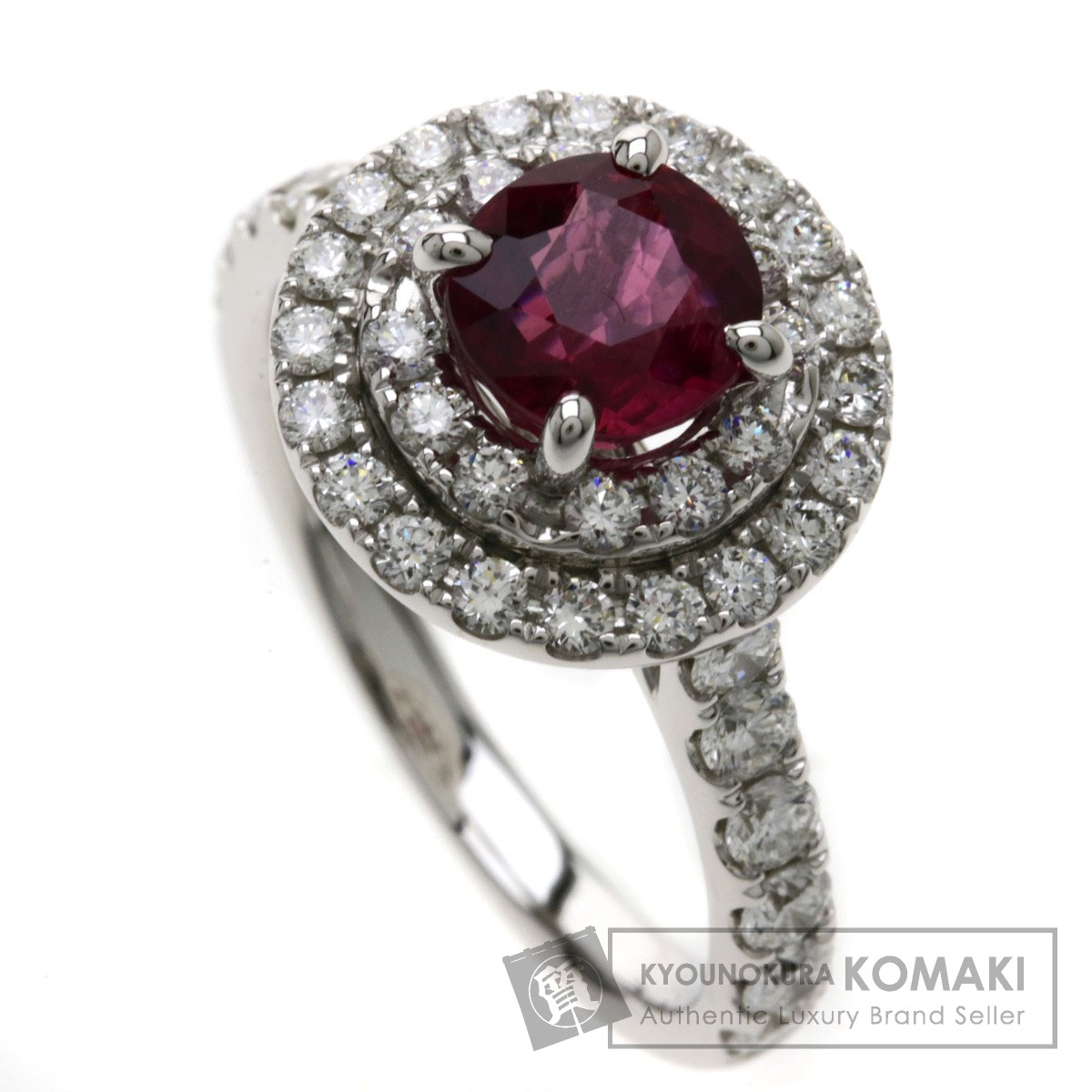 1.486ct ルビー/ダイヤモンド リング・指輪 K18WG 5.1g レディース 【中古】