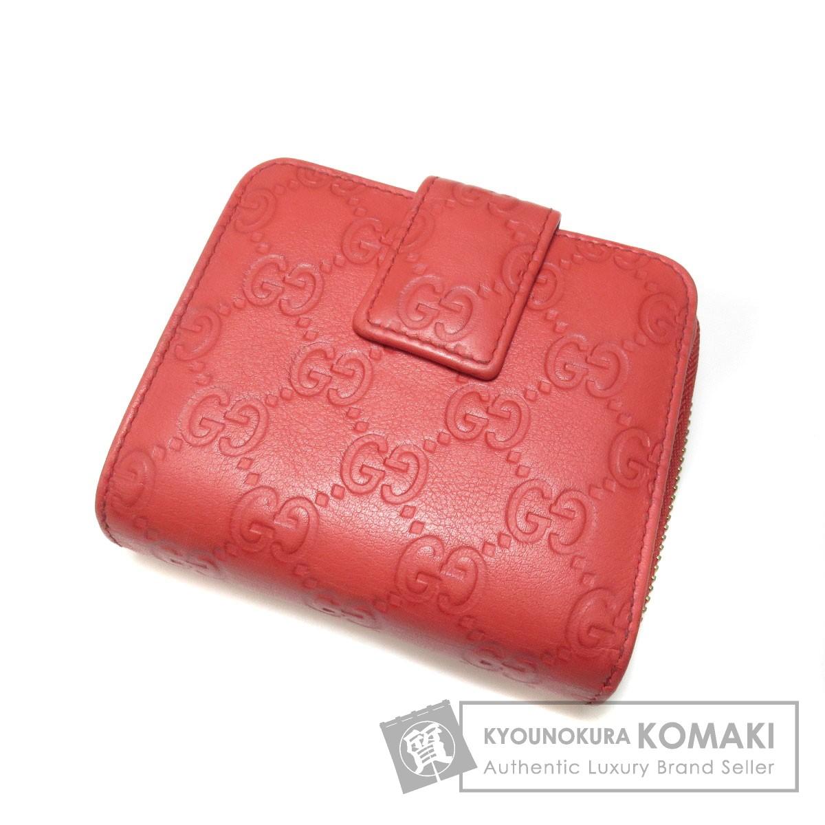 GUCCI GG シマ 二つ折り財布(小銭入れあり) レザー レディース 【中古】【グッチ】