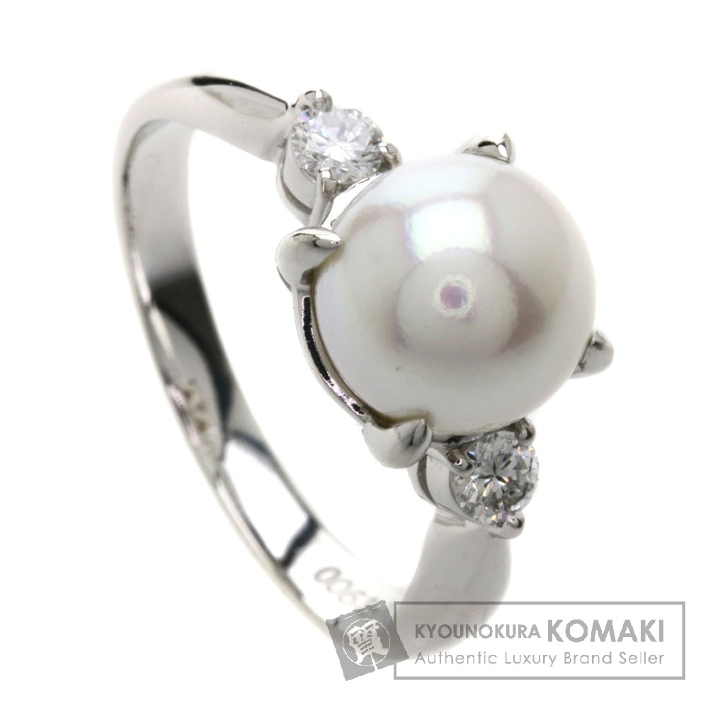 パール/真珠/ダイヤモンド Pt900 5.4g 0.16ct 【中古】 レディース リング・指輪
