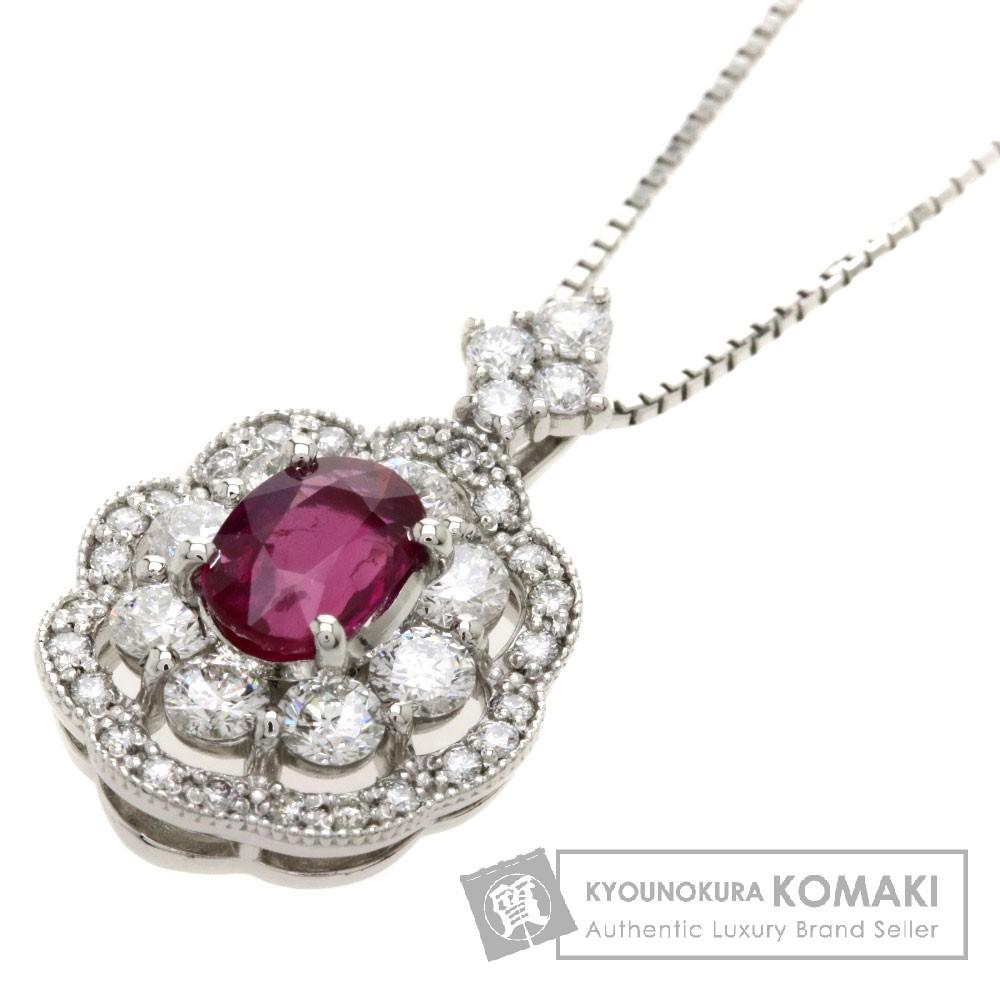 1.001ct ルビー/ダイヤモンド ネックレス プラチナPT900/PT850 6.6g レディース 【中古】