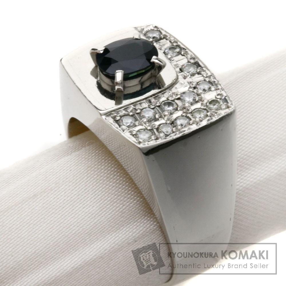 1.19ct サファイア/ダイヤモンド/印台 リング・指輪 Pt900 19.3g メンズ 【中古】
