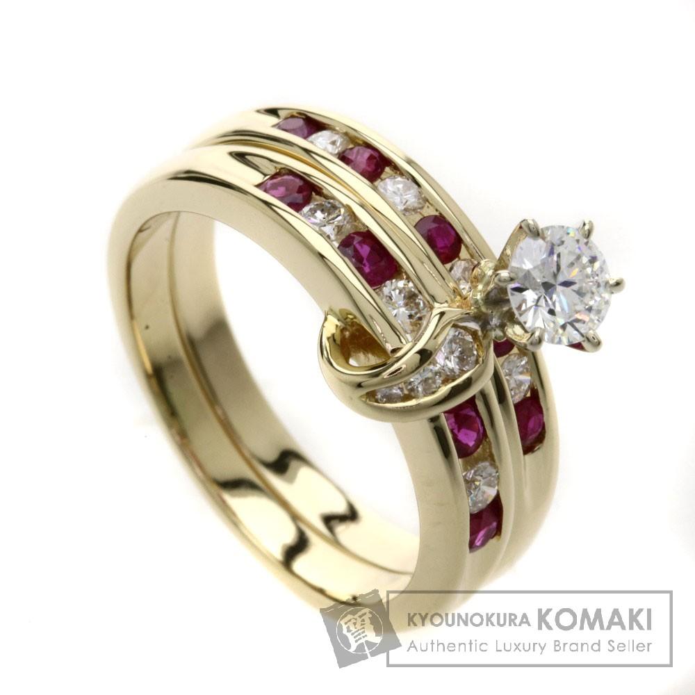 ルビー/ダイヤモンド 2本セット リング・指輪 K18YG 6.9g レディース 【中古】