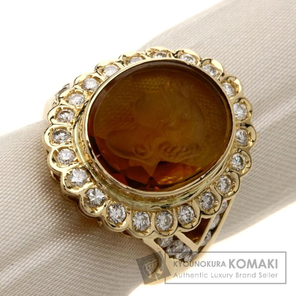 3.4ct トパーズ/ダイヤモンド/彫刻 リング・指輪 K18YG 9g レディース 【中古】