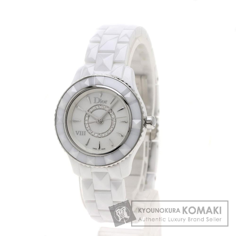 CHRISTIAN DIOR CD1221E2C002 Dior  サークルダイヤ 腕時計 セラミック レディース 【中古】【クリスチャンディオール】
