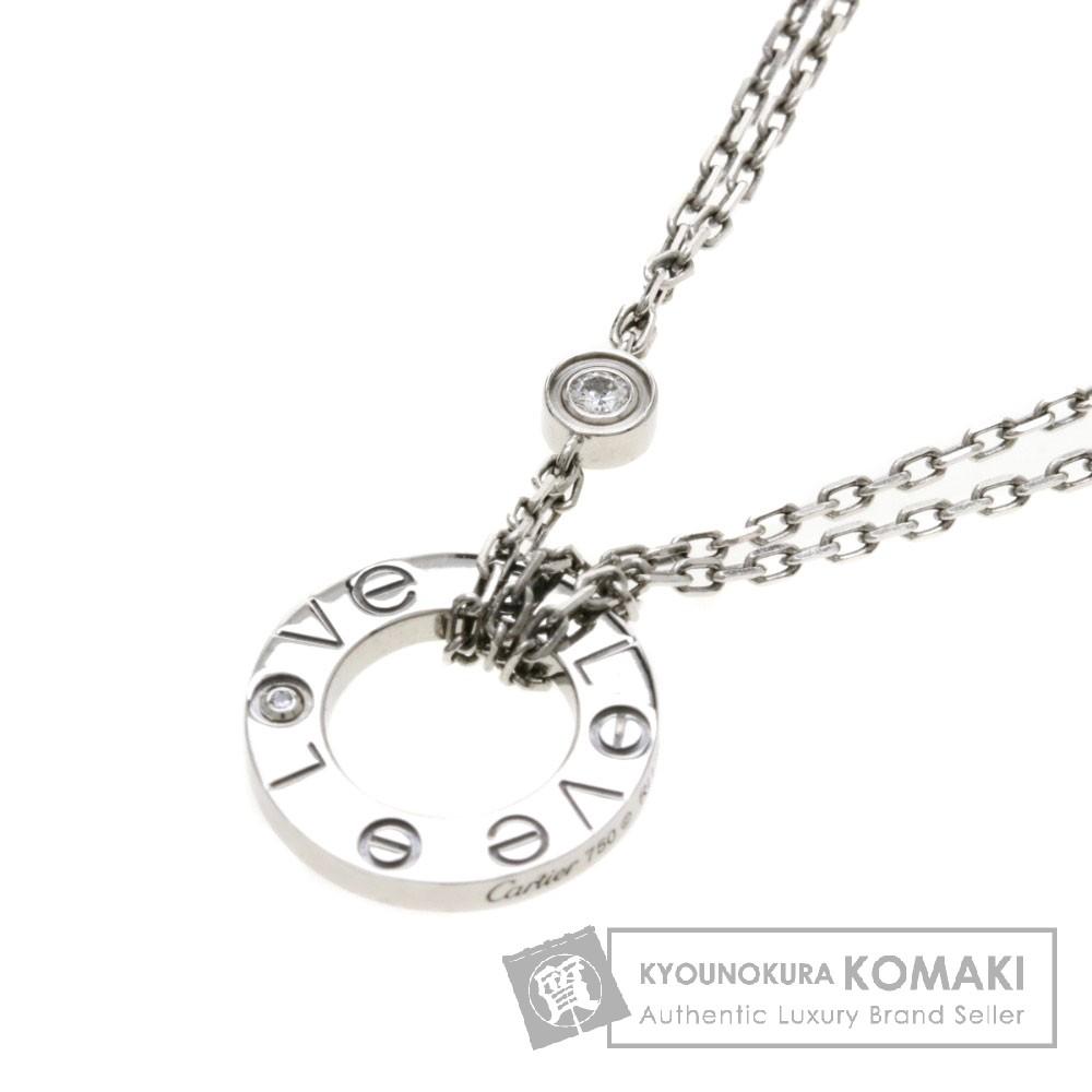 CARTIER ラブサークル 2Pダイヤモンド ネックレス K18WG レディース 【中古】【カルティエ】