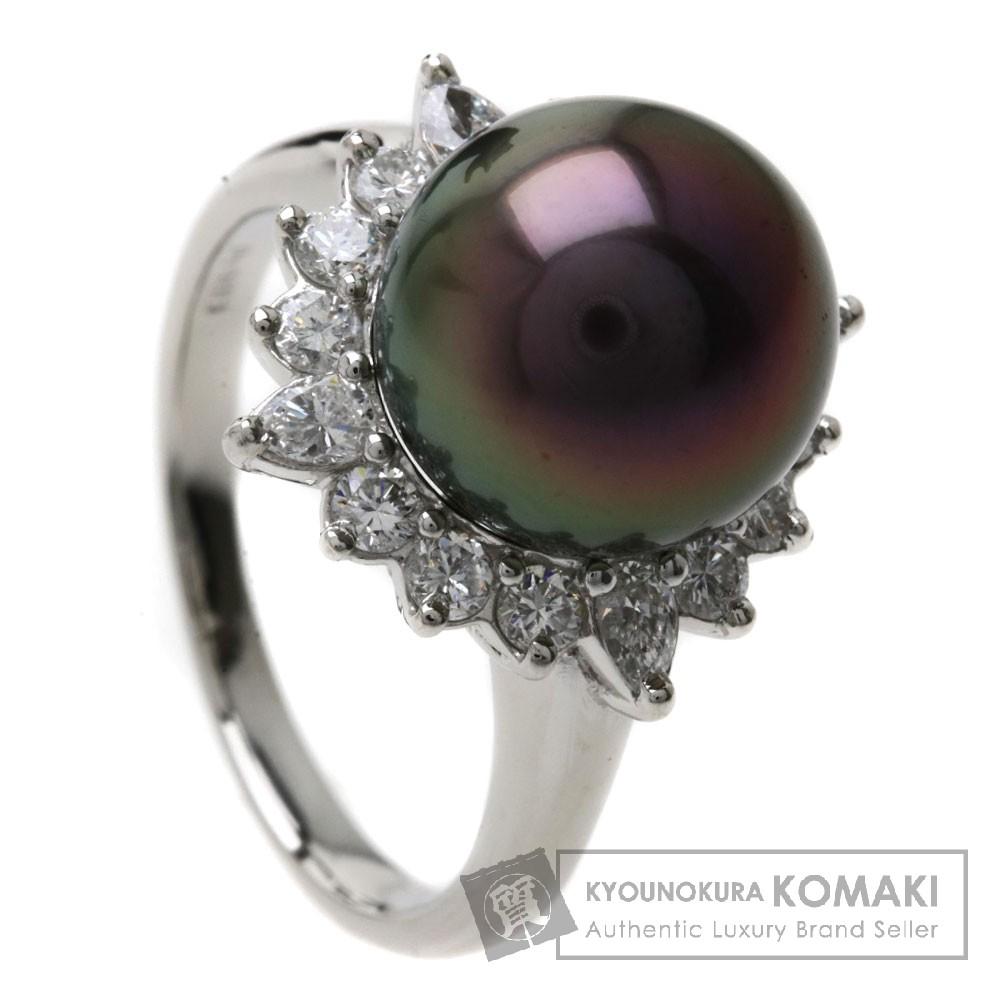 0.73ct ブラックパール/真珠/ダイヤモンド リング・指輪 Pt900 9g レディース 【中古】