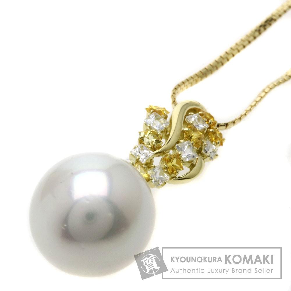 1.78ct 南洋パール/真珠/ダイヤモンド/イエローサファイア ネックレス K18イエローゴールド 11.9g レディース 【中古】