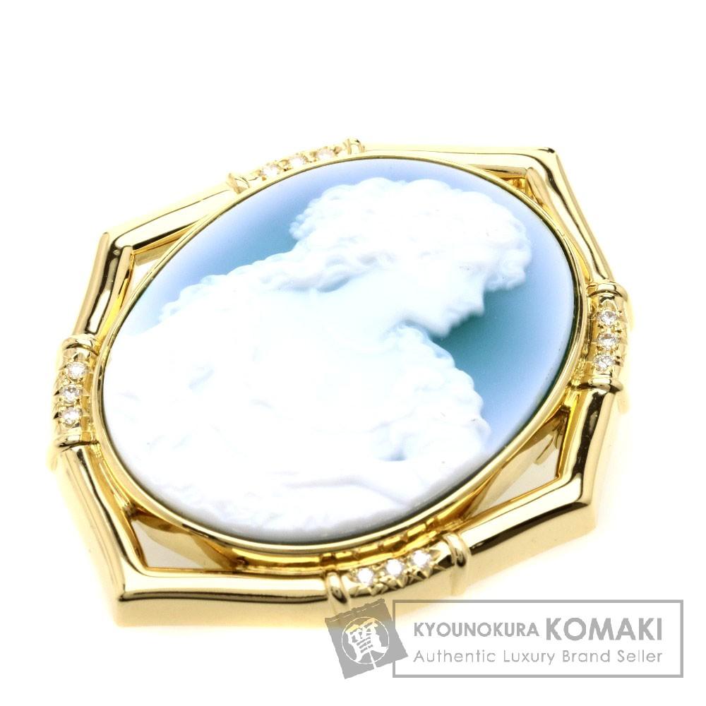 カメオ/ダイヤモンド/ペンダント ブローチ K18イエローゴールド 24.1g レディース 【中古】