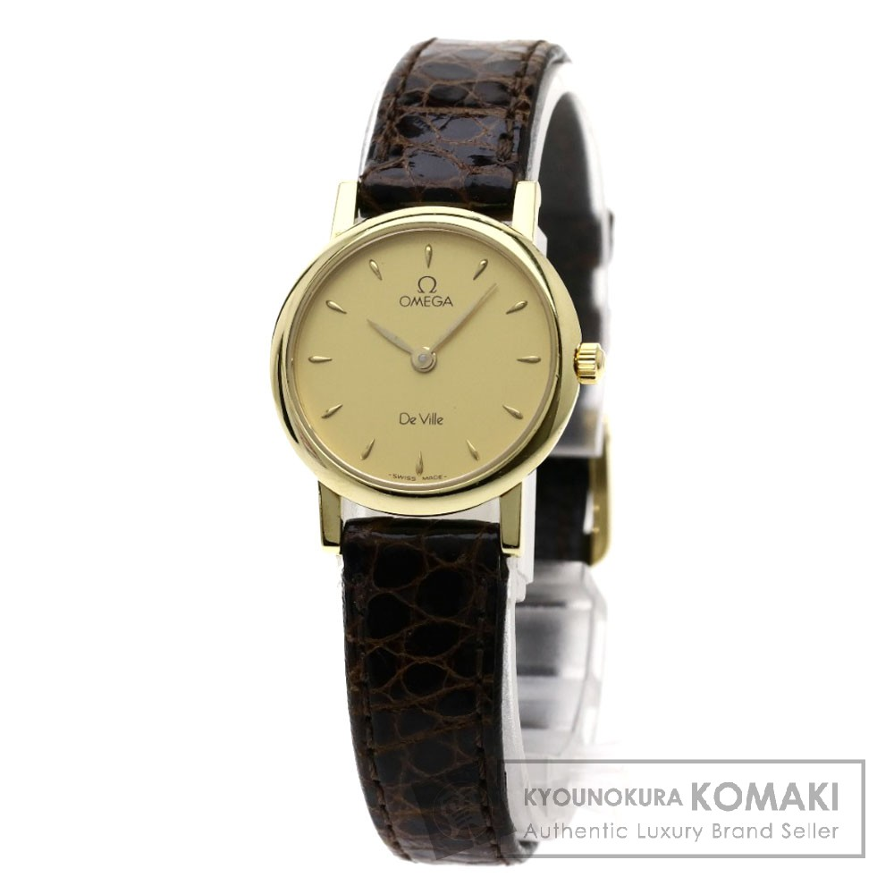 OMEGA デビル 腕時計 OH済 K18ピンクゴールド/革 レディース 【中古】【オメガ】