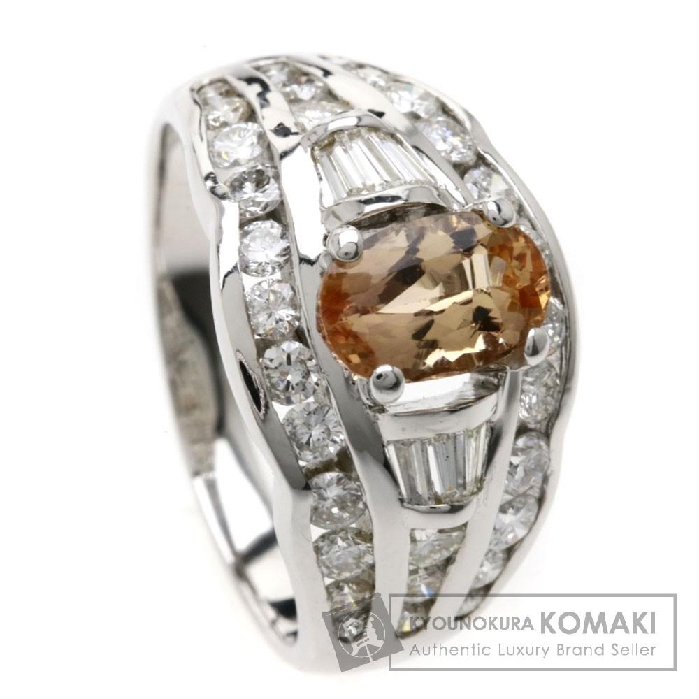 1.41ct インペリアルトパーズ/ダイヤモンド リング・指輪 K18ホワイトゴールド 7.8g レディース 【中古】