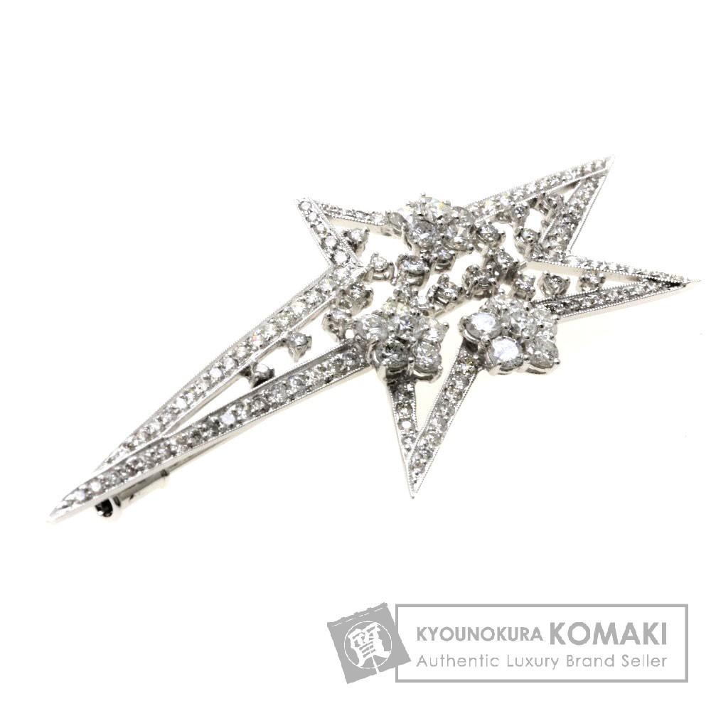 3ct ダイヤモンド ブローチ K18ホワイトゴールド 8.1g レディース 【中古】