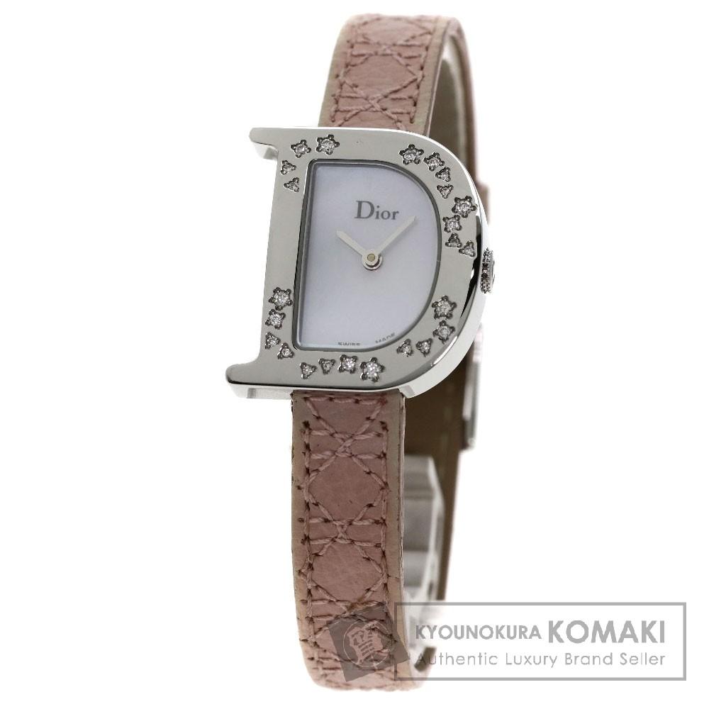 CHRISTIAN DIOR CD101112 シンプリー ダイヤモンド 腕時計 SS/革 レディース 【中古】【クリスチャンディオール】