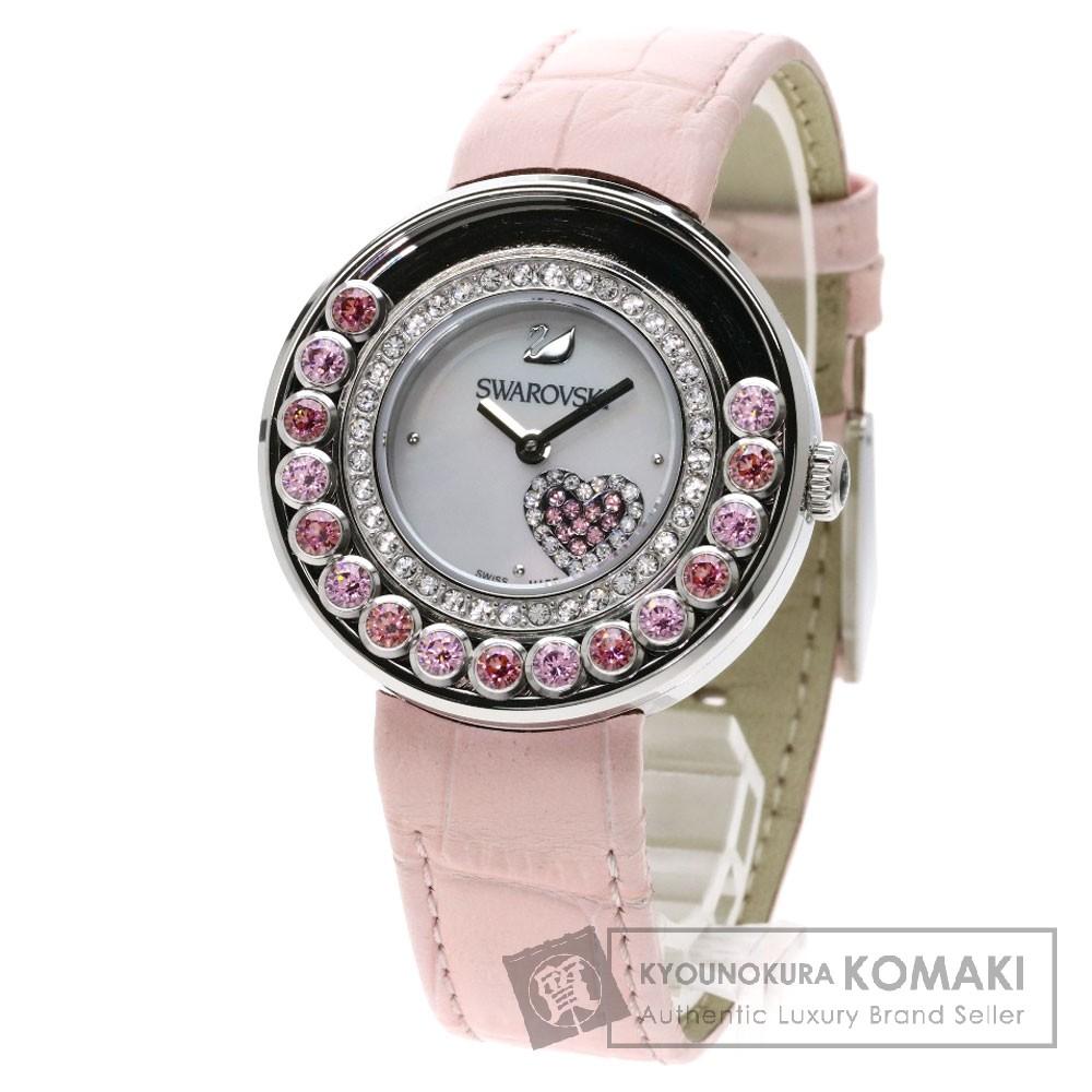 SWAROVSKI 5096032 ラブリークリスタルズハート/Lovely Crystals Heart 腕時計 SS/革 レディース 【中古】【スワロフスキー】