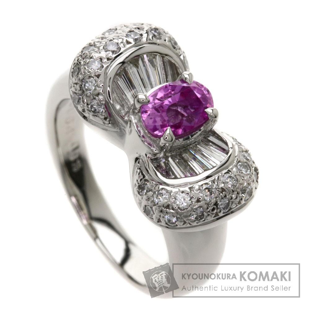 0.93ct ピンクサファイア/ダイヤモンド/リボンモチーフ リング・指輪 Pt900 11.5g レディース 【中古】