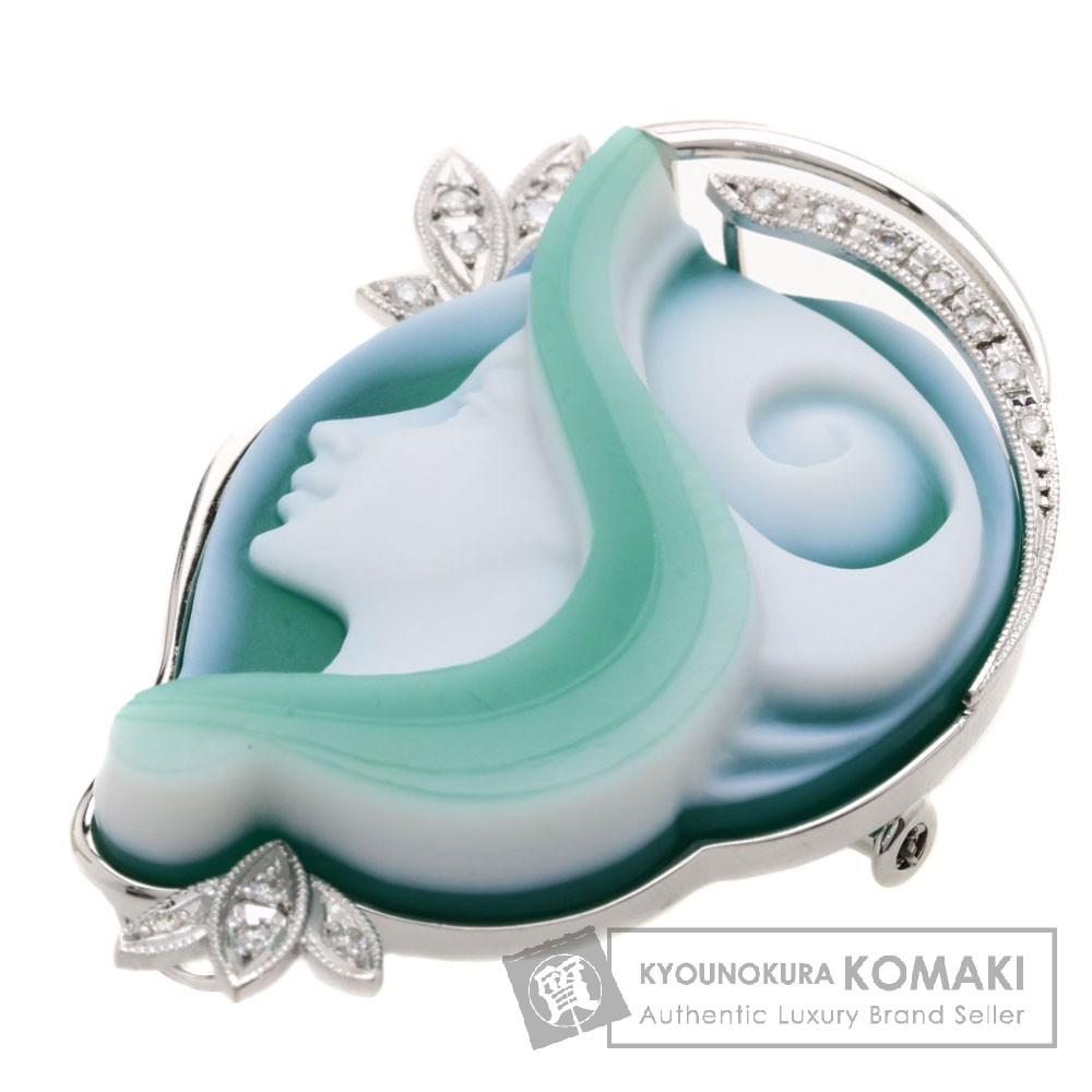 0.16ct ストーンカメオ/ダイヤモンド Susanne Ostgen作 ブローチ K18WG 18.3g レディース 【中古】