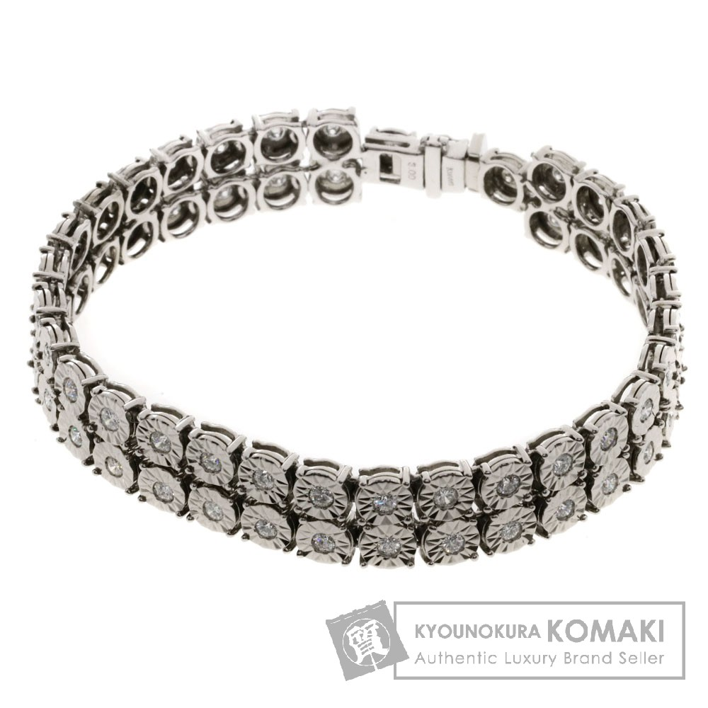 3ct ダイヤモンド ブレスレット K18WG 33g レディース 【中古】