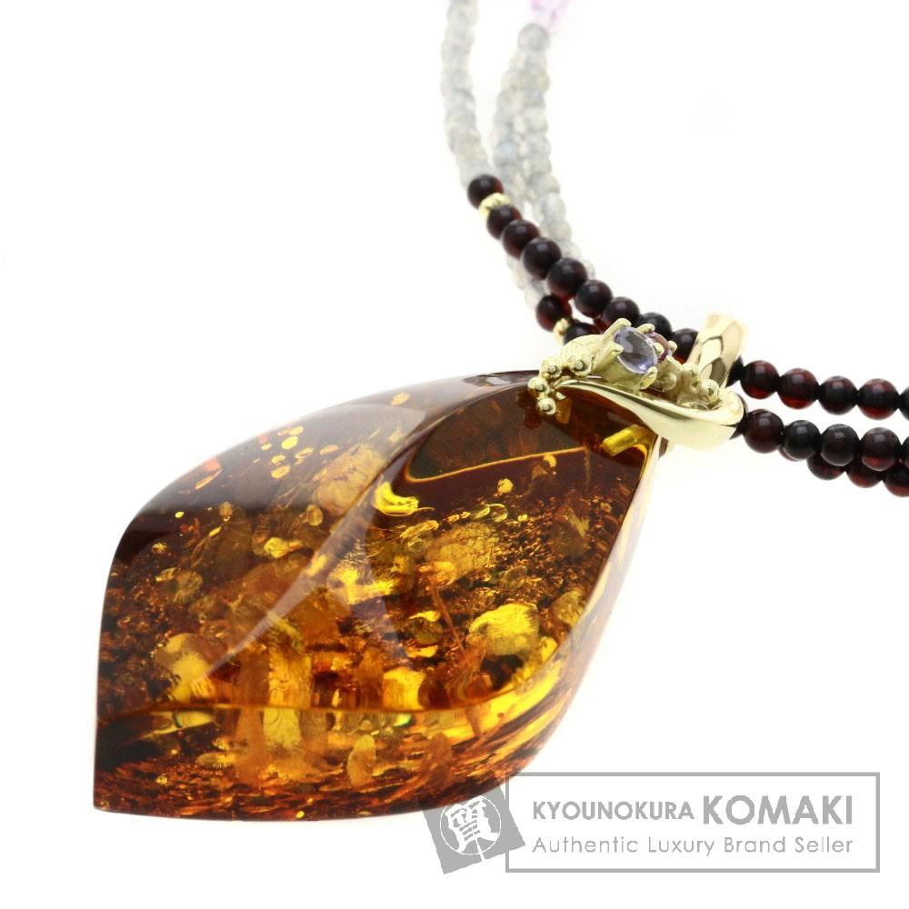 コハク/琥珀/マルチカラーストーン ネックレス K18YG 19.1g レディース 【中古】