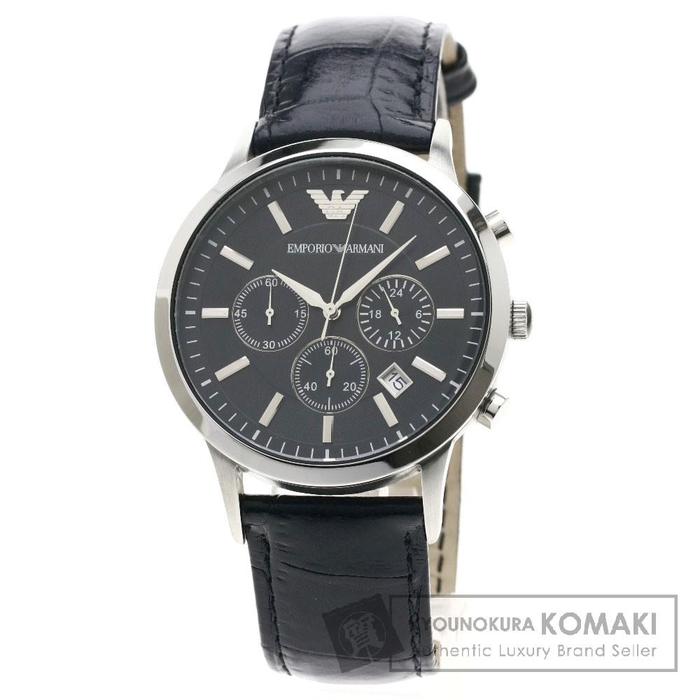 Emporio Armani AR-2447 腕時計 SS/革 メンズ 【中古】【エンポリオ・アルマーニ】