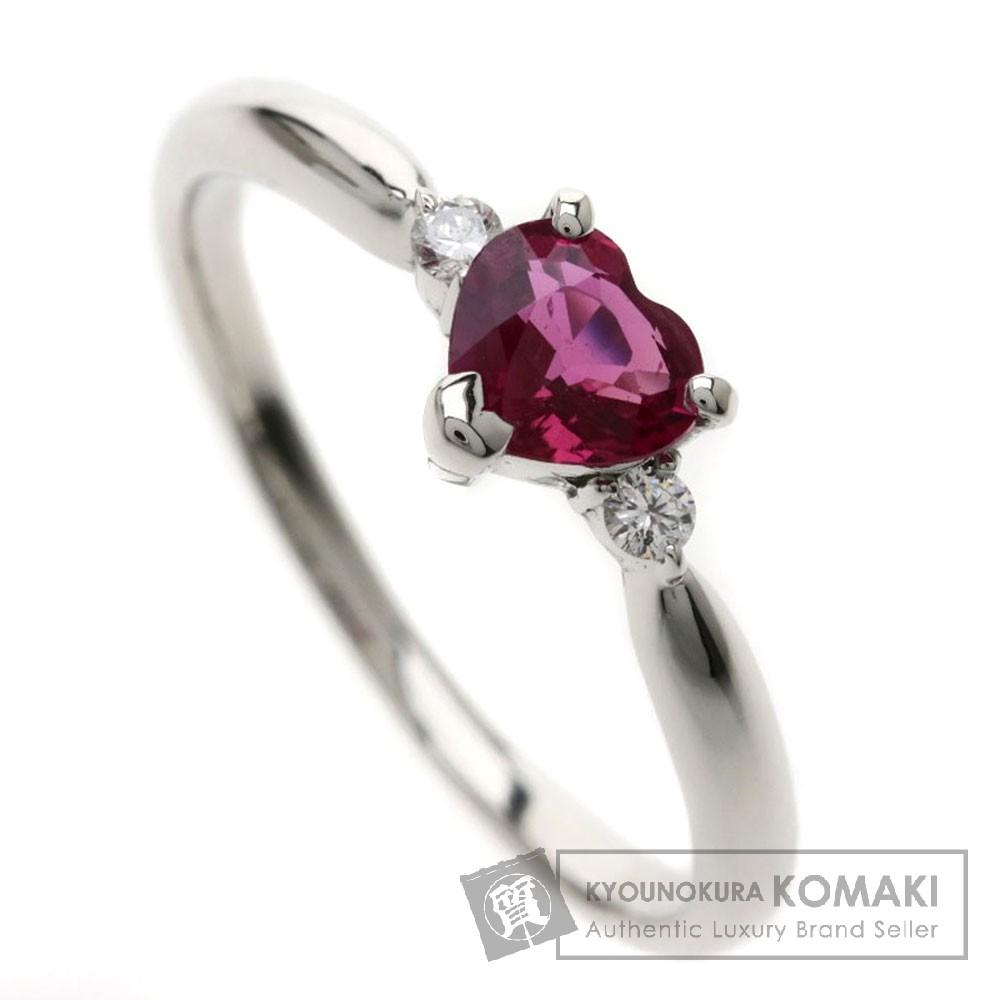 0.53ct ルビー ハートシェイプ/ダイヤモンド リング・指輪 Pt900 2.8g レディース 【中古】