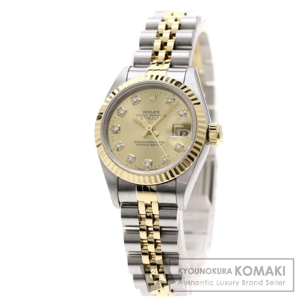 ROLEX 69173G デイトジャスト 10Pダイヤモンド 腕時計 OH済 SS/SSxK18YG レディース 【中古】【ロレックス】