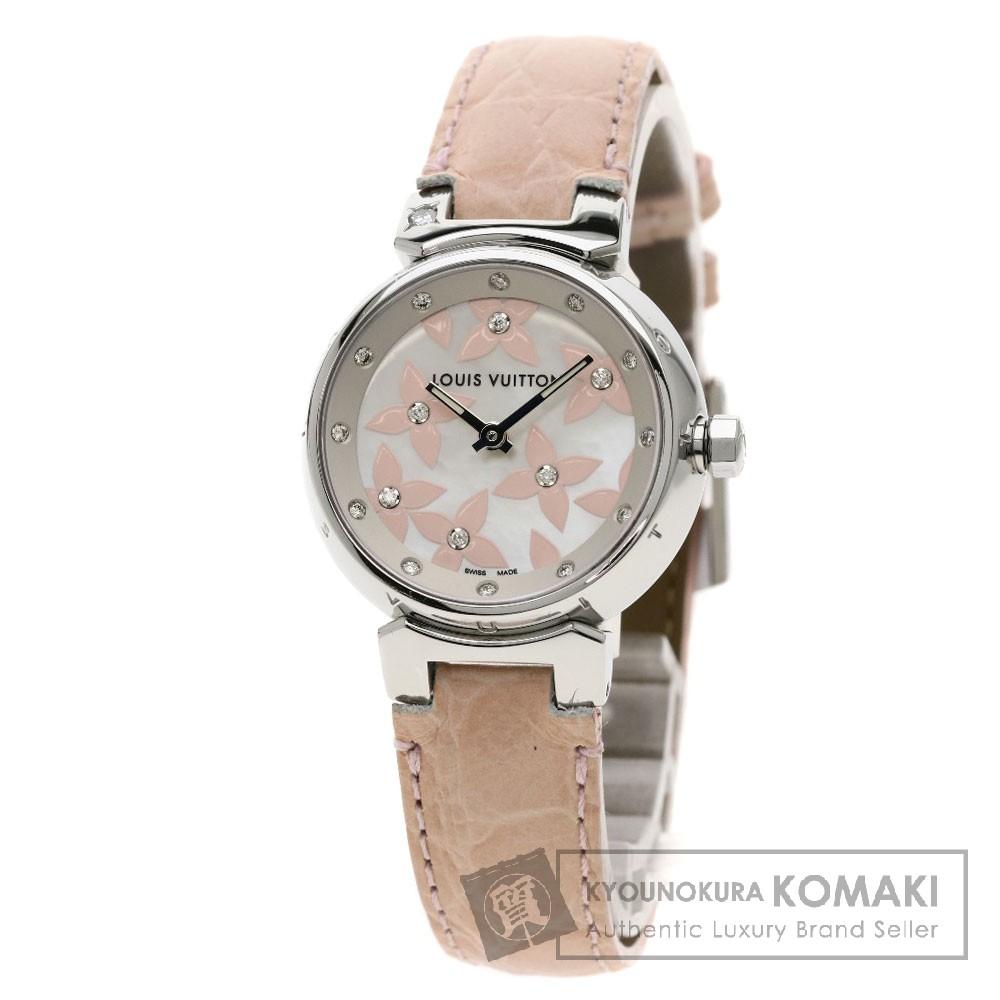 LOUIS VUITTON Q121H タンブール ラブリー ダイヤモンド 18Pダイヤモンド 腕時計 SS/革 レディース 【中古】【ルイ・ヴィトン】
