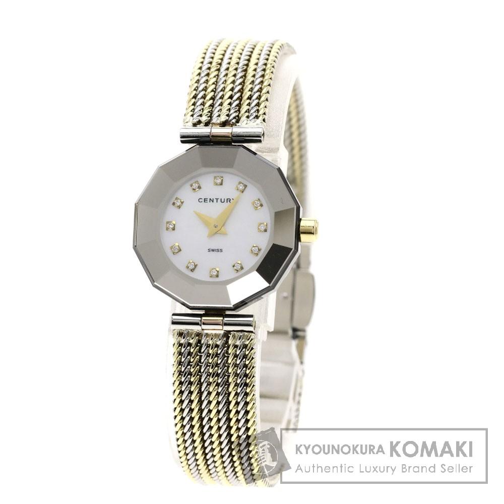 CENTURY プライムタイム 12Pダイヤモンド 腕時計 OH済 SS レディース 【中古】【センチュリー】