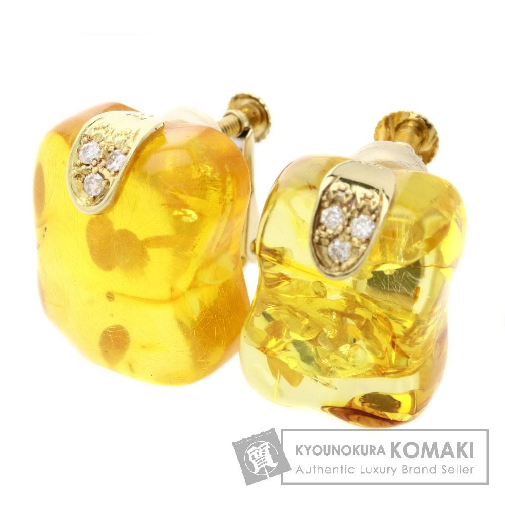 コハク/琥珀/ダイヤモンド ピアス K18イエローゴールド 4.9g レディース 【中古】